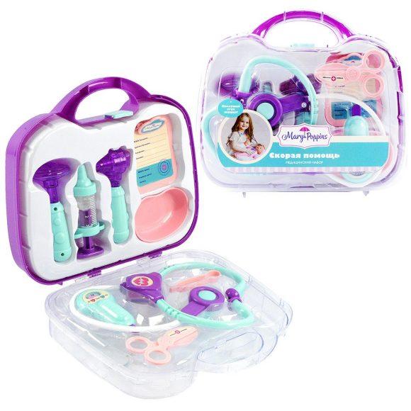 Купить Медицинский набор в чемоданчике - Скорая помощь, 9 предметов, фиолетовый, свет и звук, Mary Poppins