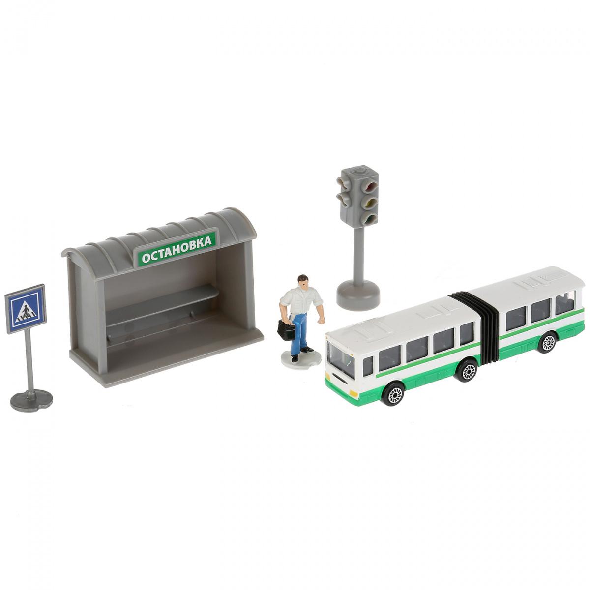 Купить Набор - металлический автобуса с остановкой и аксессуарами, 12 см, Технопарк
