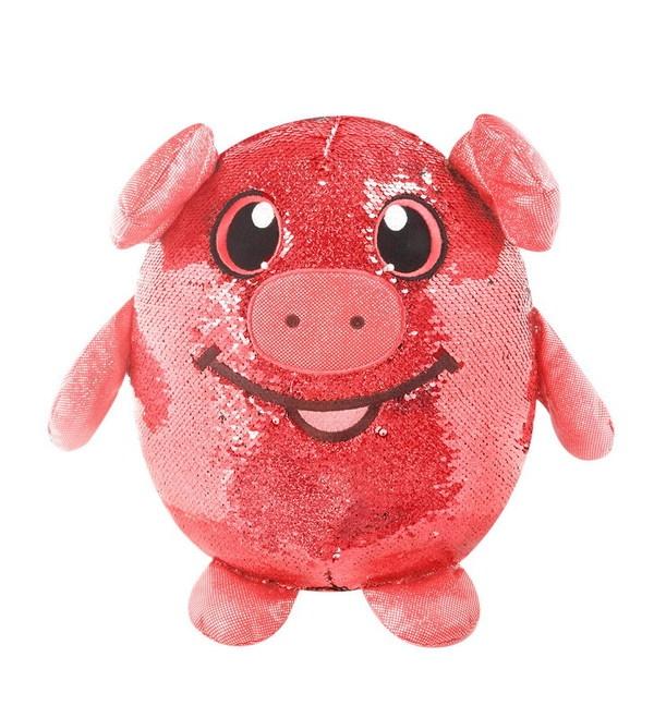 Мягконабивная фигурка свинки в пайетках из сери Shimmeez Шиммиз, 20 см., 9 шт в дисплее