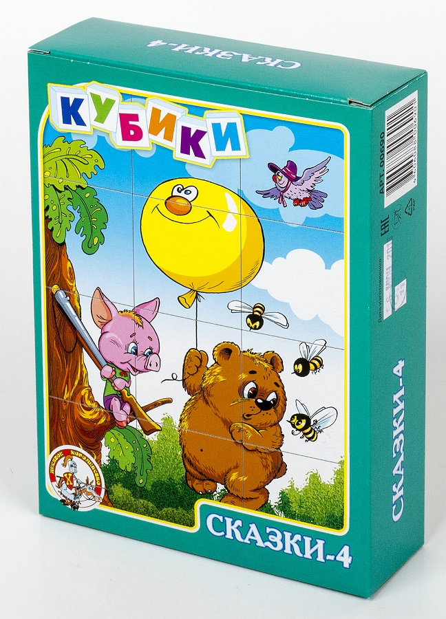Кубики – Сказки-4, 12 штукКубики<br>Кубики – Сказки-4, 12 штук<br>