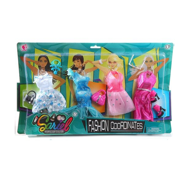 Набор одежды и аксессуаров для куклы высотой 29 см: 4 платья, обувь, 2 сумочки, кольеОдежда для кукол<br>Набор одежды и аксессуаров для куклы высотой 29 см: 4 платья, обувь, 2 сумочки, колье<br>