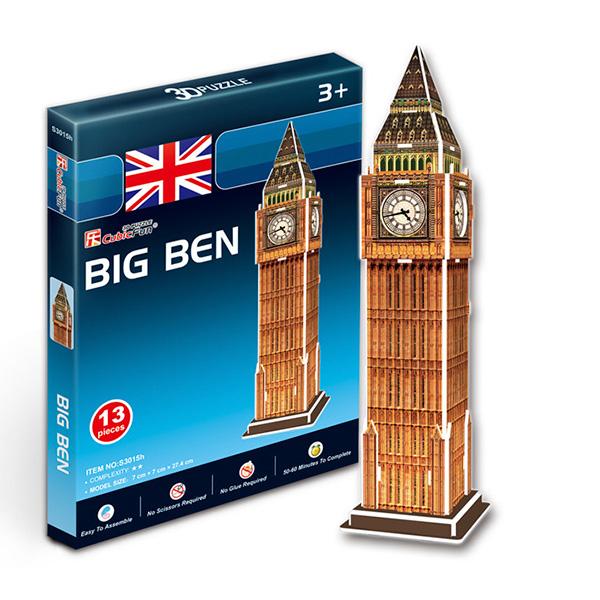 Купить Объемный 3D-пазл Биг бен, Великобритания, мини серия, Cubic Fun