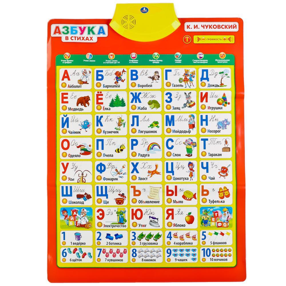 Купить Обучающий плакат - Азбука Чуковского в стихах, 10 программ, Умка