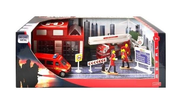 Купить Игровой набор - Пожарная станция, с 2 металлическими машинками и аксессуарами, JUNFA TOYS