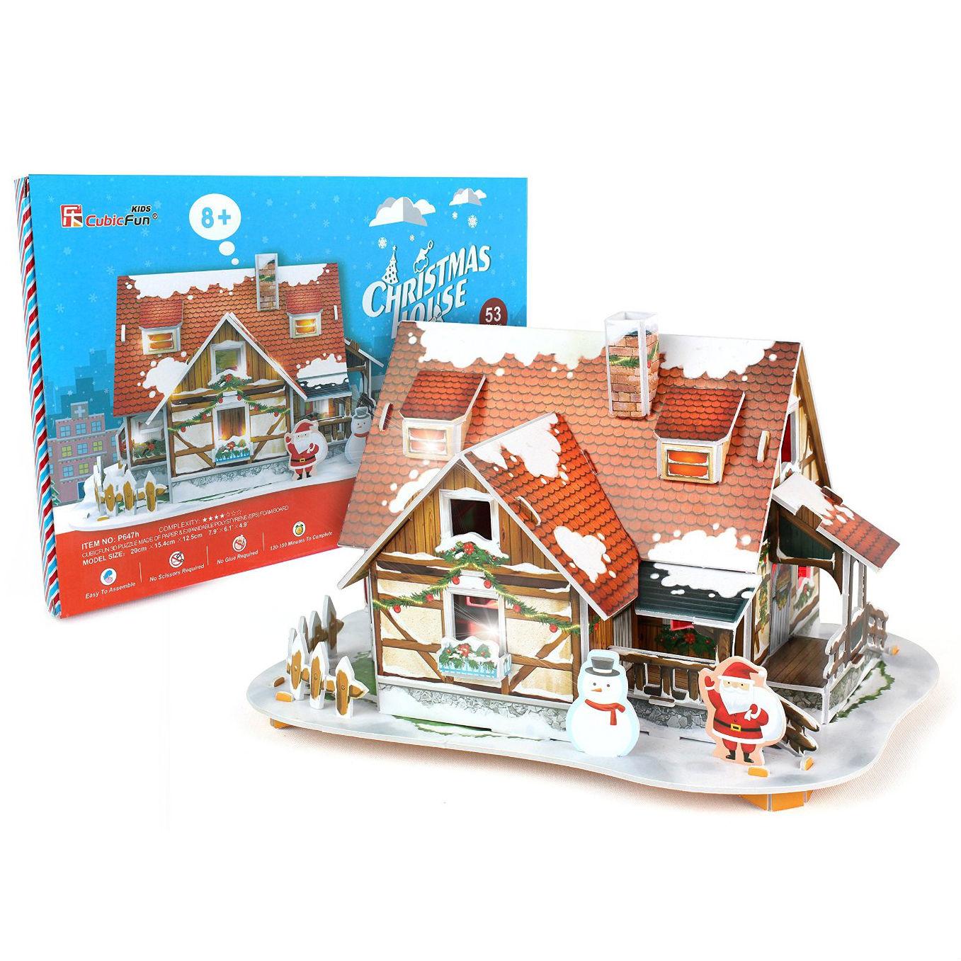 Купить 3D-пазл с подсветкой - Рождественский домик, 53 детали, Cubic Fun