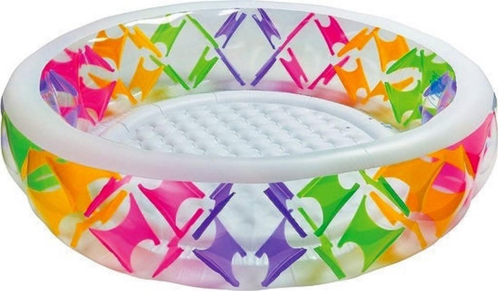 Бассейн надувной круглый, прозрачный, с цветными вставкамиДетские надувные бассейны<br>Бассейн надувной круглый, прозрачный, с цветными вставками<br>
