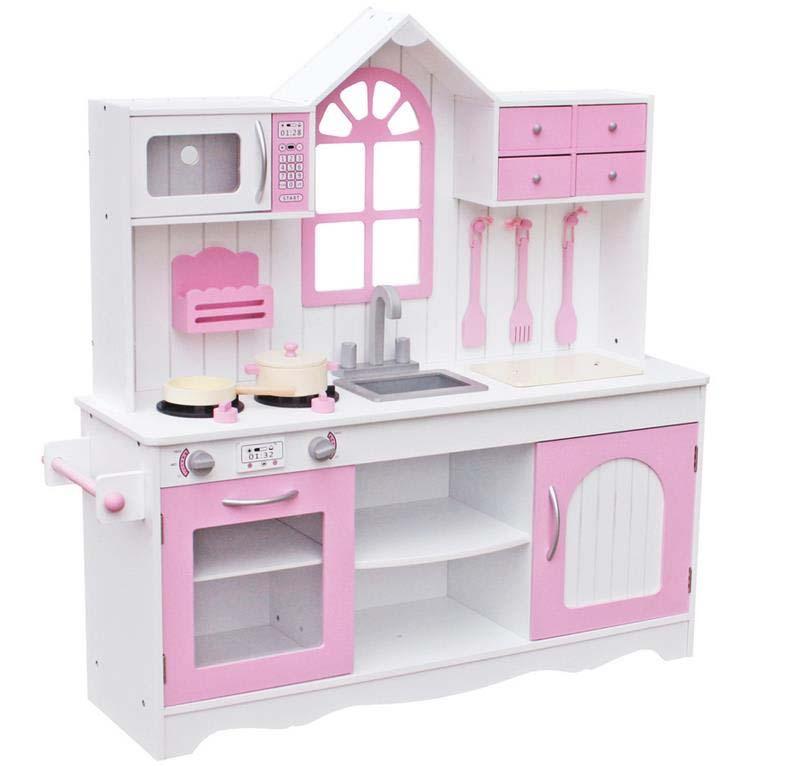 Купить Кухня деревянная – Прованс, розовый, с аксессуарами, Lanaland