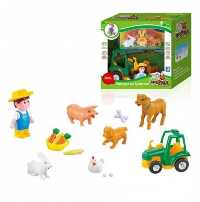 Купить Игровой набор из серии Наша ферма - Поездка на тракторе, фермер и зверюшки, 1TOY