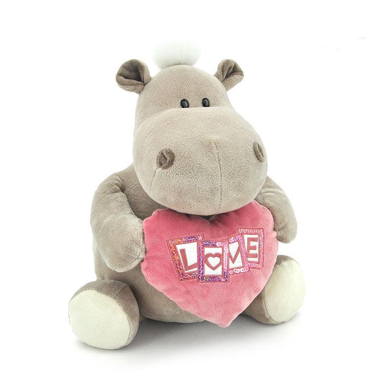 Мягкая игрушка - Бегемот девочка с сердцем, 20 см.Животные<br>Мягкая игрушка - Бегемот девочка с сердцем, 20 см.<br>