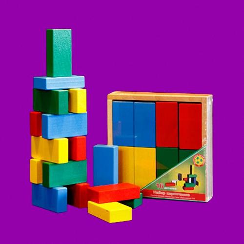 Кирпичики цветные - 16 деталей в деревянной коробкеДеревянный конструктор<br>Кирпичики цветные - 16 деталей в деревянной коробке<br>