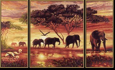 Триптих Африканские слоны, 50*80 см
