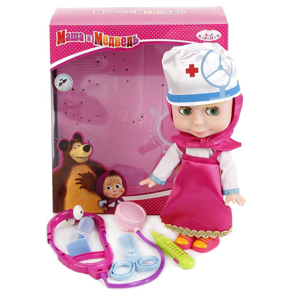 Купить Кукла из мультфильма Маша и Медведь – Маша, 25 см с набором доктор, Карапуз