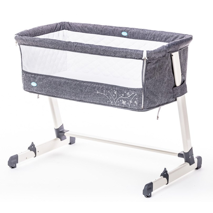 Детская приставная кроватка – Nuovita Accanto, grigio scuro lino/темно-серый лен