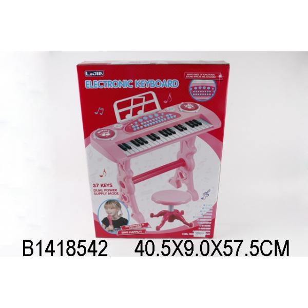 Синтезатор 220V на батарейках, 37 клавиш, с микрофоном и стулом 328-03 фото