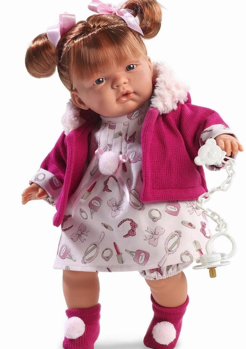 Кукла Жоэль в розовой кофточке 38 см., со звукомИспанские куклы Llorens Juan, S.L.<br>Кукла Жоэль в розовой кофточке 38 см., со звуком<br>