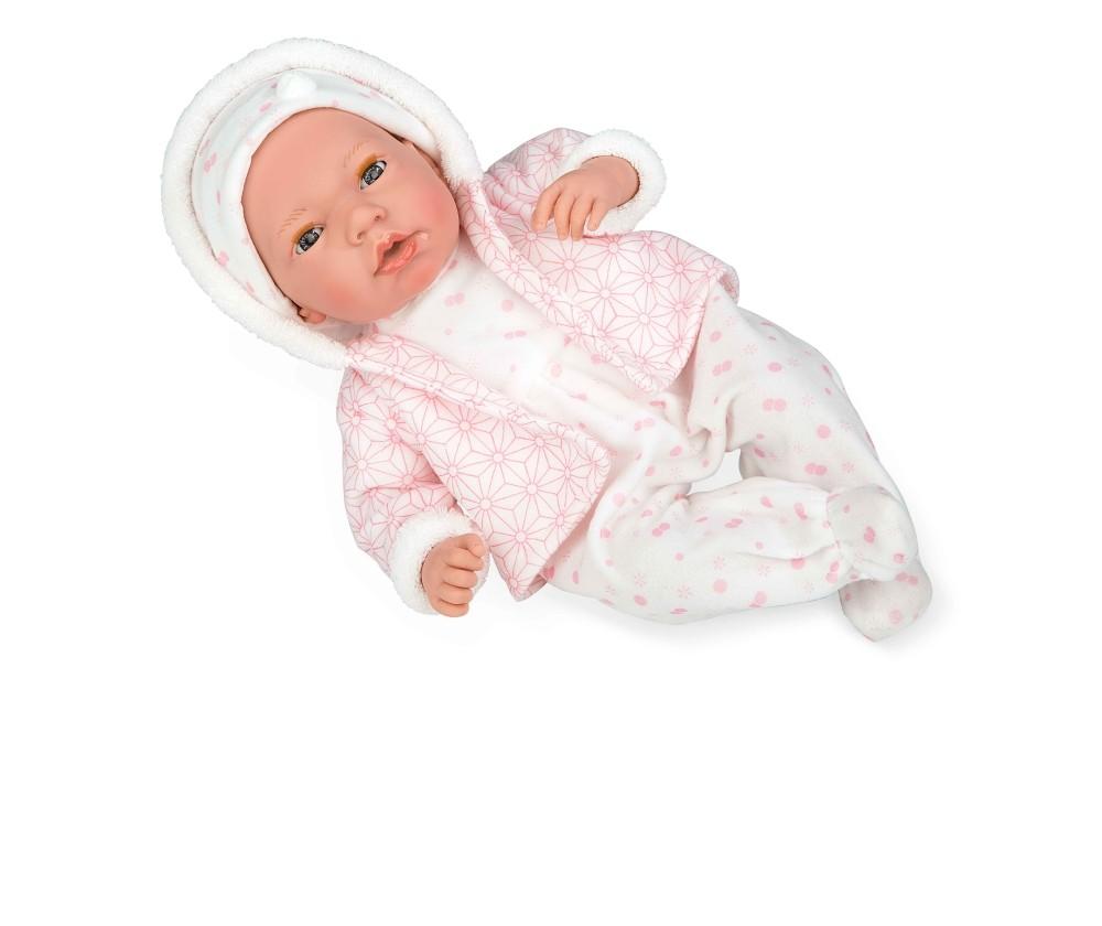 Интерактивная кукла из коллекции Elegance – Пупс, 38 см, с мягким телом, с закрывающимися глазами, в одежде розовых тонов с узором и соской, плачет