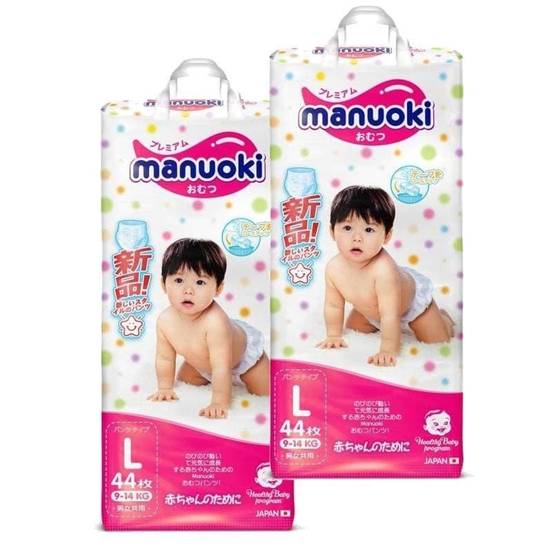 Купить Подгузники-трусики размер L, 9-14 кг, 2 пачки по 44 шт, Manuoki