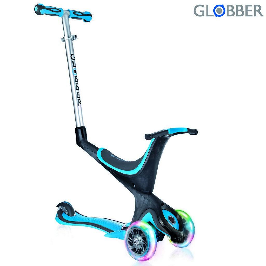 Самокат Globber Evo 5 in 1 с 3 светящимися колесами, Sky BlueТрехколесные самокаты<br>Самокат Globber Evo 5 in 1 с 3 светящимися колесами, Sky Blue<br>
