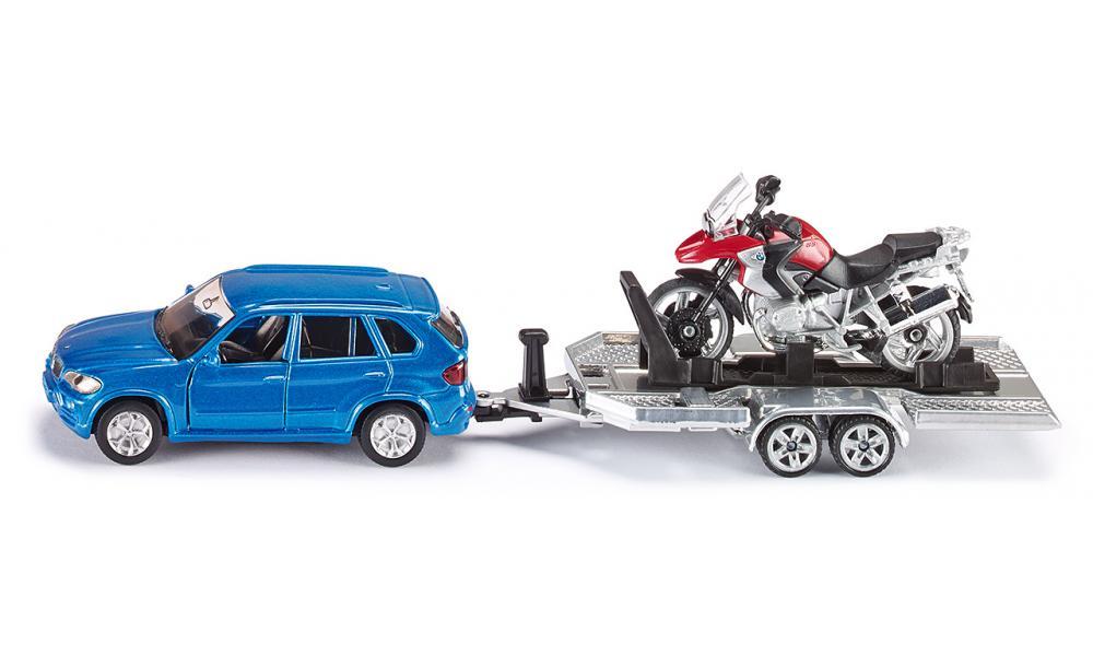 Купить Модель автомобиля BMW с прицепом и мотоциклом, Siku