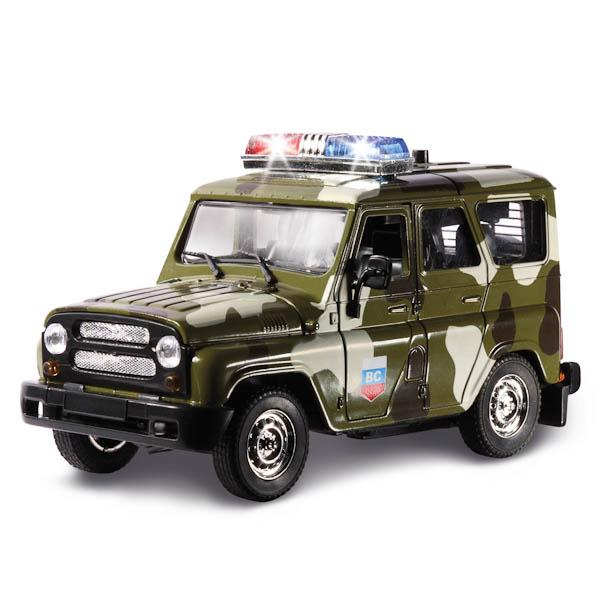 Инерционная металлическая машина УАЗ Hunter Военный с сиреной и мигалками, свет, звукВоенная техника<br>Инерционная металлическая машина УАЗ Hunter Военный с сиреной и мигалками, свет, звук<br>