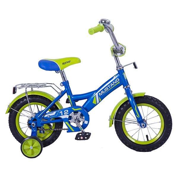 Купить Велосипед детский Mustang, колеса 12 , GW-стальная рама, щиток на руле, багажник, страховочные колеса, звонок, цвет – сине-салатовый