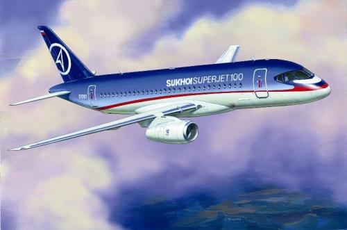 Подарочный набор. Модель для склеивания  Пассажирский Авиалайнер Суперджет 100 - Модели для склеивания, артикул: 98656