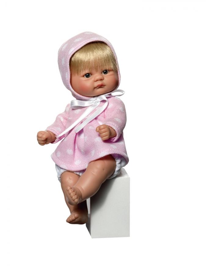 Кукла пупсик в розовом теплом платьице, 20 см.Куклы ASI (Испания)<br>Кукла пупсик в розовом теплом платьице, 20 см.<br>
