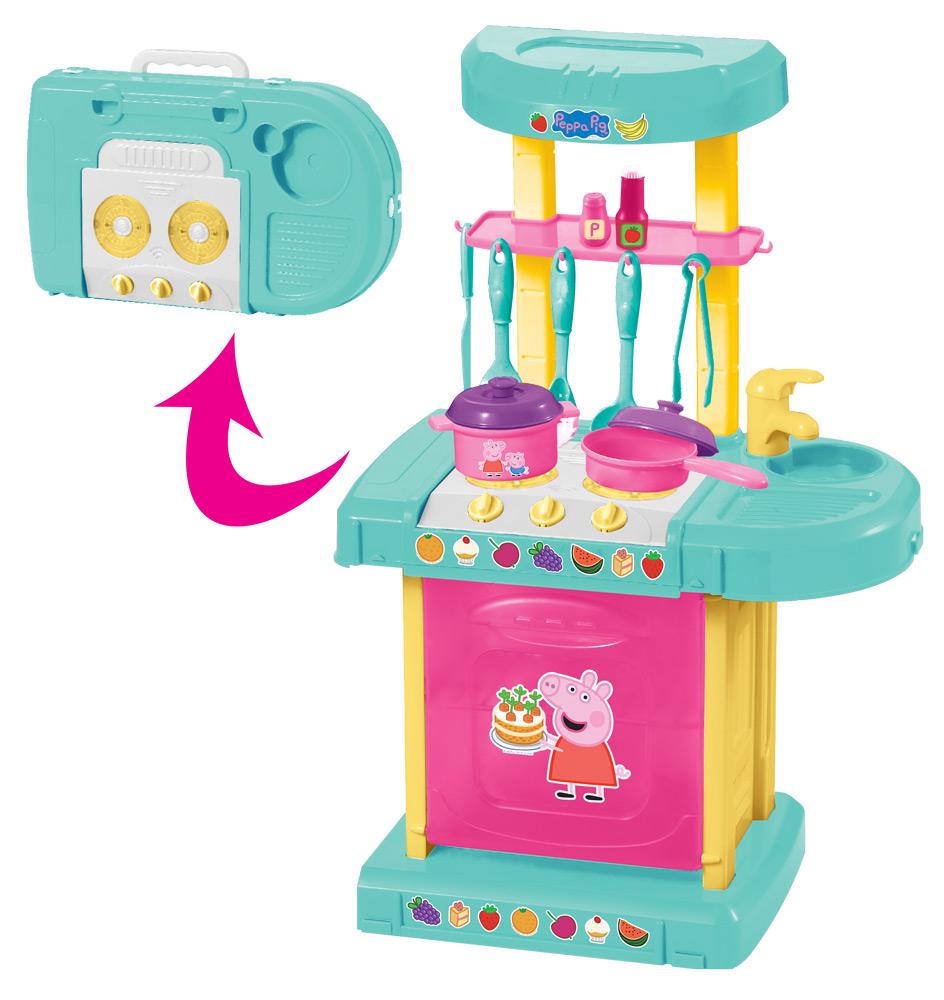 Игровой набор - Кухня Пеппы, 22 аксессуара, свет и звукДетские игровые кухни<br>Игровой набор - Кухня Пеппы, 22 аксессуара, свет и звук<br>