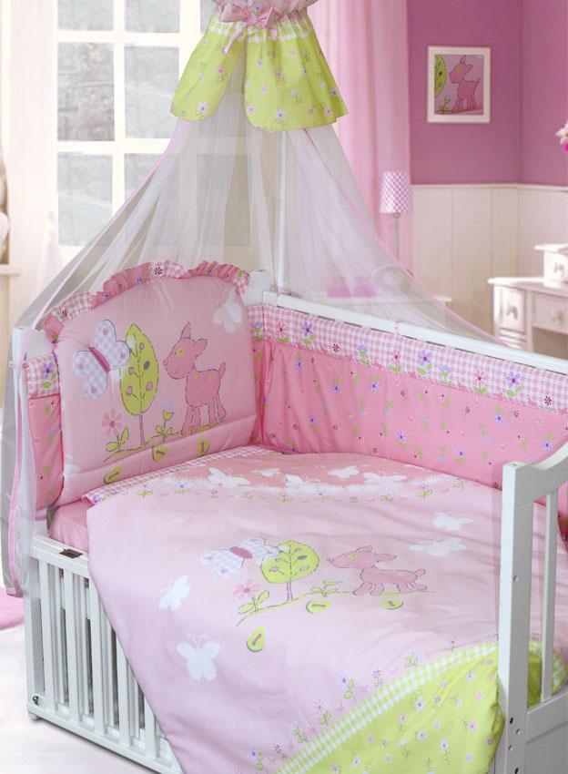 Комплект в кроватку – Little Friend, 7 предметов, розовыйДетское постельное белье<br>Комплект в кроватку – Little Friend, 7 предметов, розовый<br>