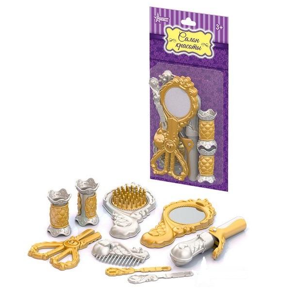 Парикмахерский набор – Золото, 9 предметовЮная модница, салон красоты<br>Парикмахерский набор – Золото, 9 предметов<br>