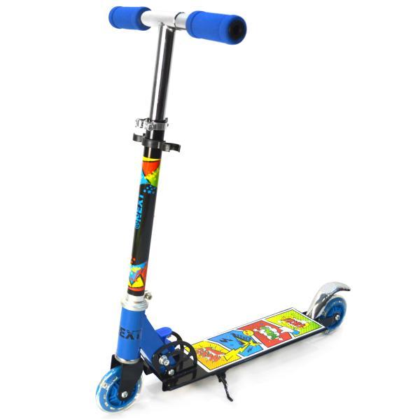 Купить Самокат складной 2-х колесный – Next, сине-черный со светящимися колесами