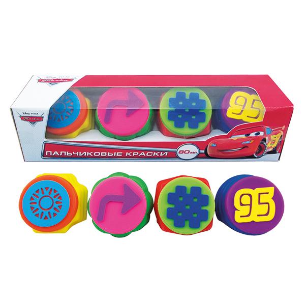Пальчиковые краски Disney Тачки с печатями, 4 цветаCARS 2 (Игрушки Тачки 2)<br>Пальчиковые краски Disney Тачки с печатями, 4 цвета<br>