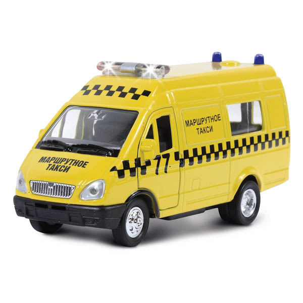 Купить Газель Маршрутное такси, свет, звук 1:43, металлическая, инерционная, Технопарк
