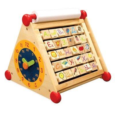 7 в 1: Развивающий деревянный центр: алфавит, доски для рисования, часы, счеты, лабиринт - Деревянные игрушки, артикул: 7603