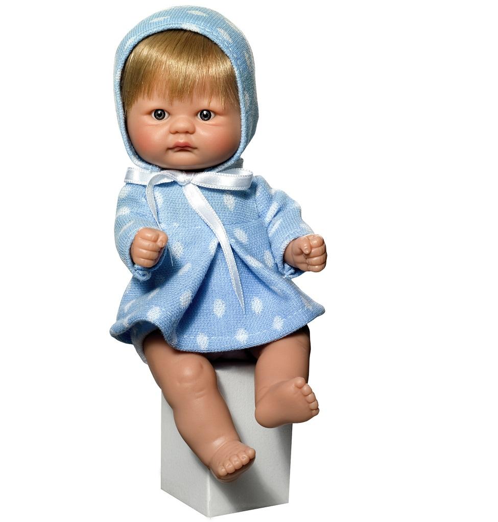 Кукла пупсик в голубом костюмчике, 20 см.Куклы ASI (Испания)<br>Кукла пупсик в голубом костюмчике, 20 см.<br>