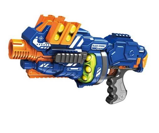Электромеханический бластер Blaze Storm с 12 мягкими снарядами-шарамиАвтоматы, пистолеты, бластеры<br>Электромеханический бластер Blaze Storm с 12 мягкими снарядами-шарами<br>