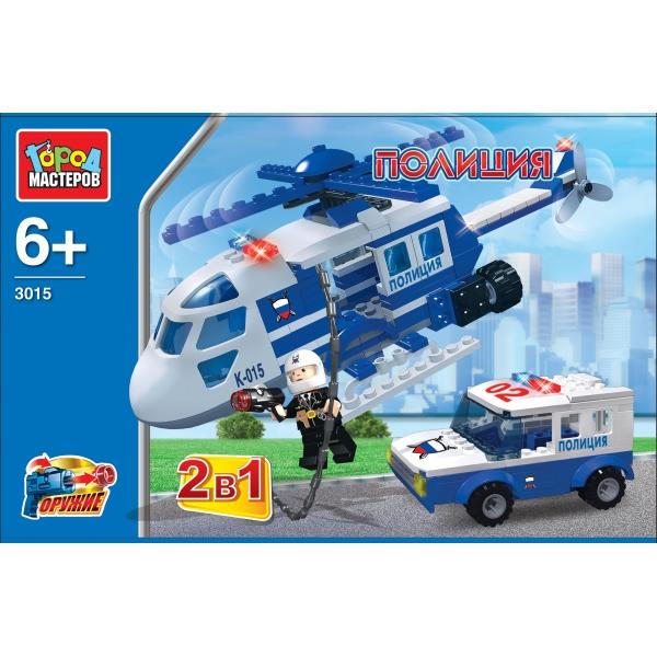 Купить Конструктор – 2 в 1 Полиция: Вертолет с машиной, Город мастеров