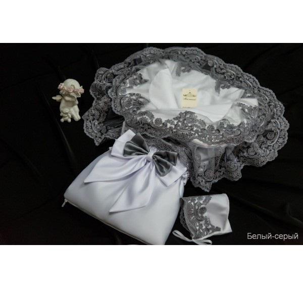 Купить Комплект на выписку из серии Самия Л 4048/1, сезон – весна, цвет – бело-серый, Мой Ангелок