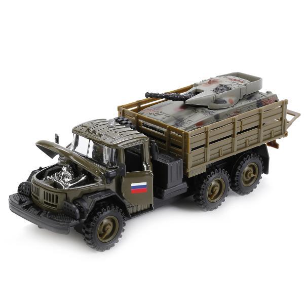 Машина металлическая инерционная Зил 131 военный с танком, свет и звук sim)Военная техника<br>Машина металлическая инерционная Зил 131 военный с танком, свет и звук sim)<br>