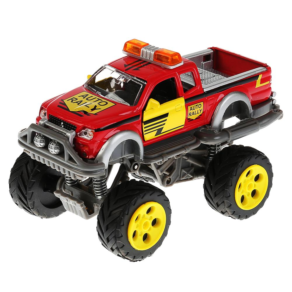Купить Джип с большими колесами Авто Ралли, металлическая, инерционная, открываются двери, свет и звук, Технопарк