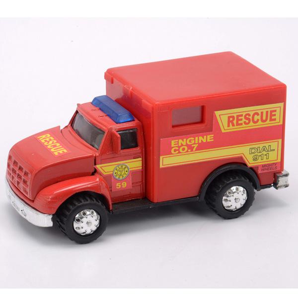 Пожарная машина с будкой и мигалками, 12 см.Пожарная техника, машины<br>Пожарная машина с будкой и мигалками, 12 см.<br>