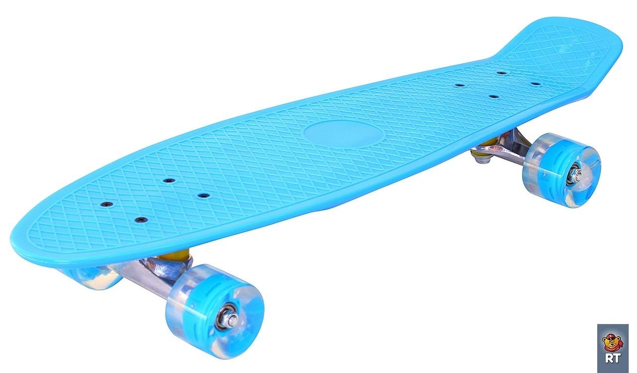 171205 Скейтборд Classic 26  YWHJ-28, со светящимися колесами, цвет голубой - Детские скейтборды, артикул: 158845