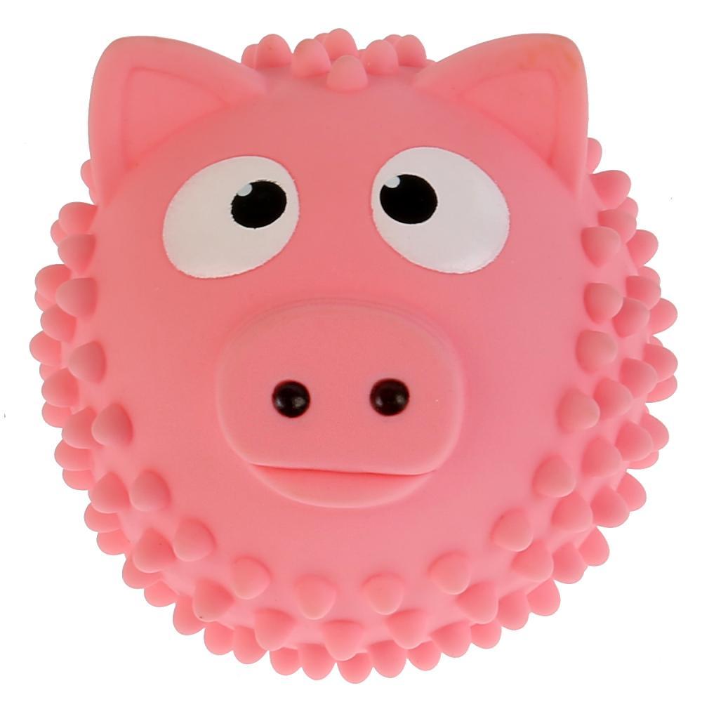 Мячик-свинка для купания Капитошка, розовый, 8 см в сетке фото