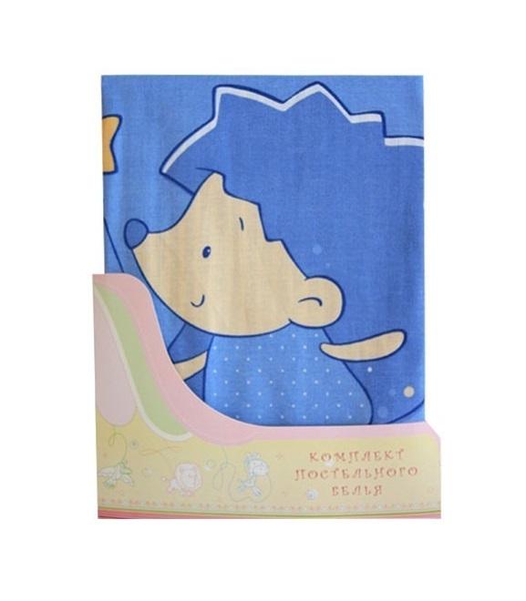 Купить Постельное белье Ёжик Топа-Топ, 3 предмета, цвет – голубой, Золотой гусь