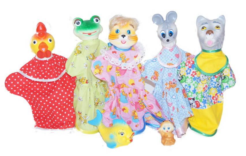 Кукольный театр - Кто сказал Мяу?, 5 кукол и 2 фигуркиДетский кукольный театр <br>Кукольный театр - Кто сказал Мяу?, 5 кукол и 2 фигурки<br>