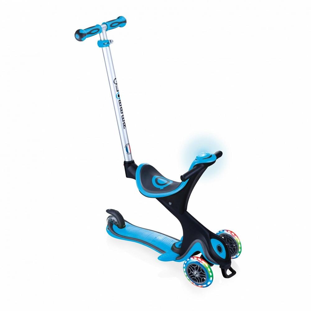 Купить Трехколесный самокат-трансформер Globber Go Up Comfort Play Lights, цвет голубой, светящиеся колеса, игровой модуль