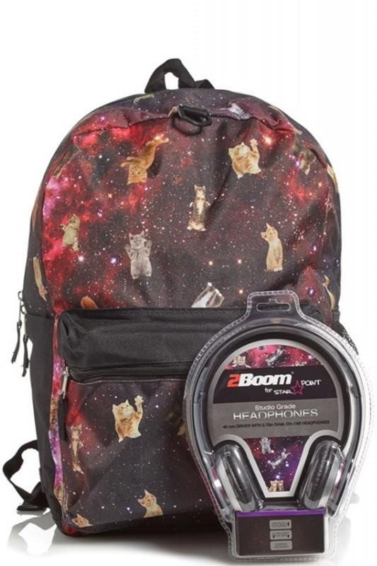 Рюкзак  Crazy Cats in Space с наушниками, цвет мульти - Школьные рюкзаки, артикул: 169327