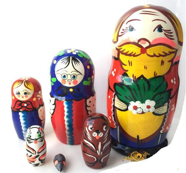 Матрешка Сказка-Репка 6 кукольная, 16 см - Деревянные игрушки, артикул: 161912