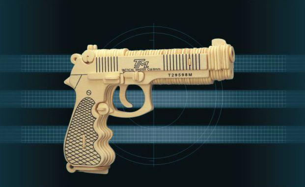 Сборная деревянная модель - Пистолет БереттаПазлы объёмные 3D<br>Сборная деревянная модель - Пистолет Беретта<br>