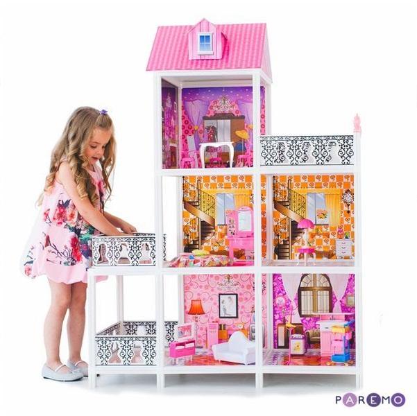 3-этажный кукольный дом, 5 комнат, мебель, 3 куклыКукольные домики<br>3-этажный кукольный дом, 5 комнат, мебель, 3 куклы<br>